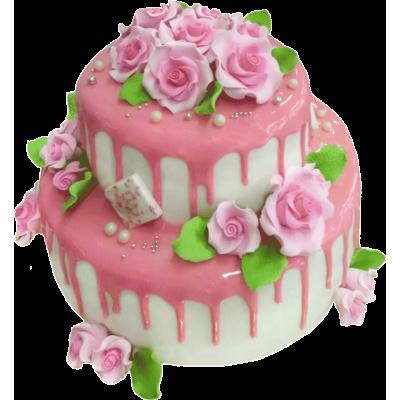Свадебный торт 201 / Торт эксклюзивный (мастика, марципан)