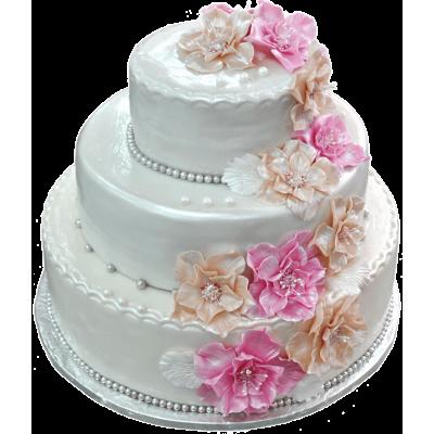 """Свадебный торт 204 / Торт """"Премиум"""" с ф.из мастики"""