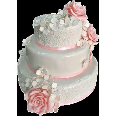 """Свадебный торт 205 / Торт """"Премиум"""" с ф.из мастики"""