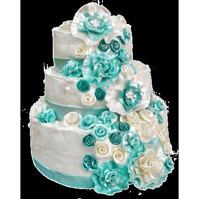 """Свадебный торт 210 / Торт """"Премиум"""" с ф.из мастики"""